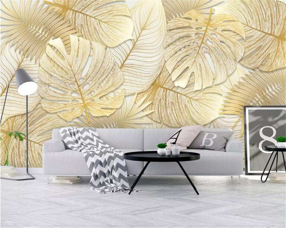 Beibehang Custom Wallpaper Murals Tropical Rainforest Golden Banana Leaf Photo Wallpaper Background Wall Wall Papers Home Decor