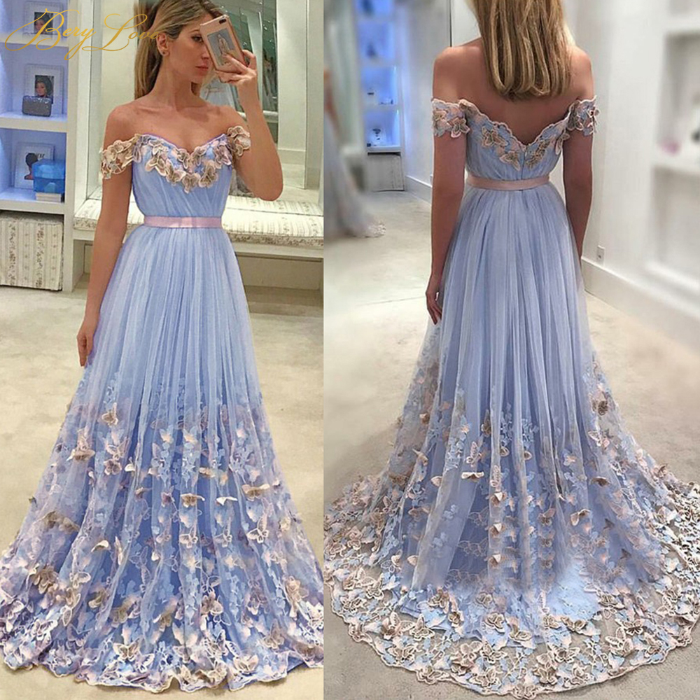 Romantic Off Shoulder Blue   Evening     Dresses   Long Lace Appliques   Evening   Gowns 2019 Women Formal   Evening     Dress   robe de soiree