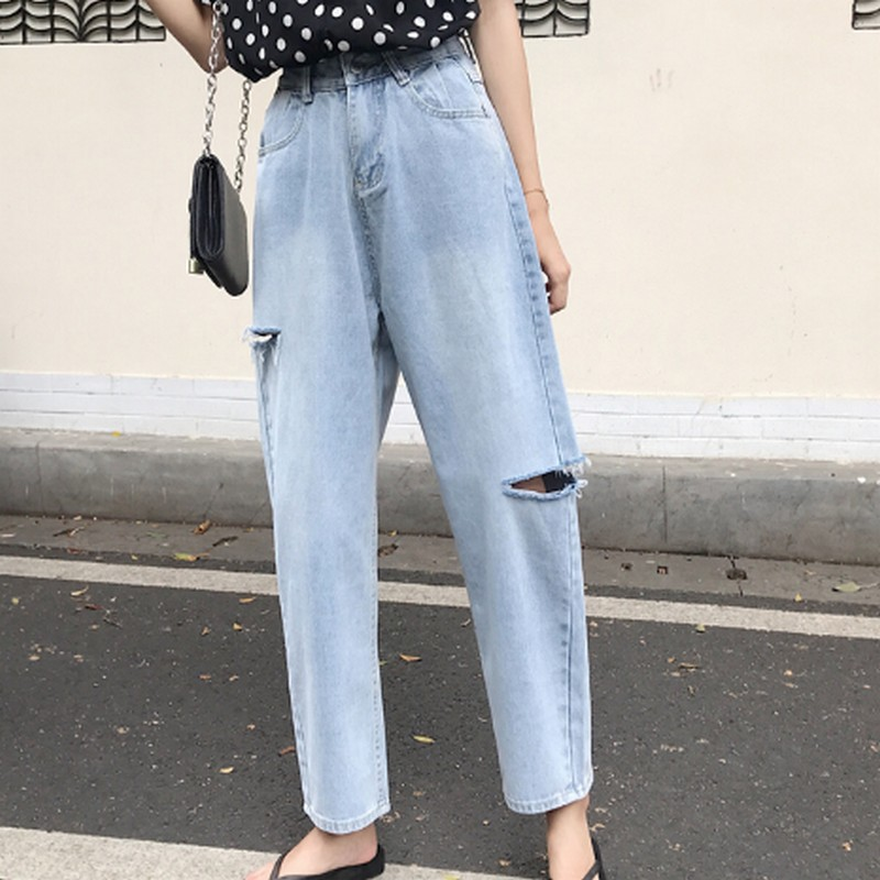 Light Blue Side Ripped Hole High Waist Jeans Woman Spring Summer Casual Loose Boyfriend Jeans for Women Ankle length Pants in Jeans from Women 39 s Clothing