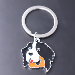 Image 3 - Exquisite enamel colored metal pendant Keychain Bernese dog pet jewelry key ring customizable wholesale