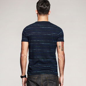 Image 4 - KUEGOU 2020 קיץ 100% כותנה פס כחול חולצה גברים חולצת טי מותג חולצה קצר שרוול טי חולצה עבור זכר בגדים חולצות 8123