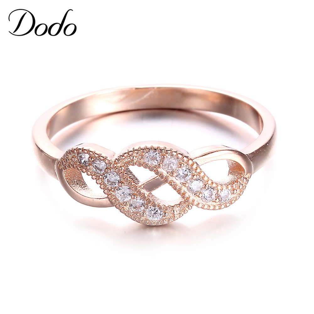 Vintage Rose Gold Color Romantic Infinity Rings for women Wedding engagement Geometric Elegant Crystal jewelry alliance KDR4