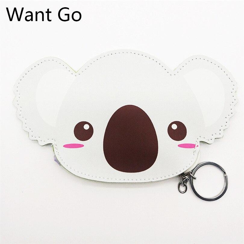 цена на Want Go Cute Cartoon Koala Coin Puses Kawaii Ainmal Women Coin Holders Pu Leather Small Bag Zipper Mini Change Wallet Purse Bag