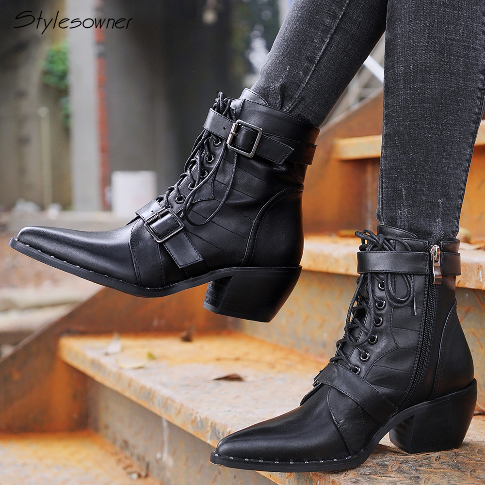 Stylesowner Women Rivets Brand Design Motorcycle Boots Lace Up Buckle Ankle Boots Chunky Heel Shoes Pointed Toe Zipper Botas Hot цены