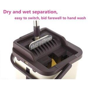 Image 5 - Mop da limpeza do assoalho do mop do aperto liso e mop da mão livre da cubeta do mop de microfibra que torce o mop molhado ou seco do uso