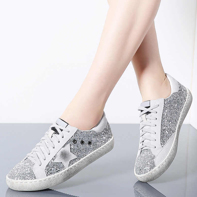 Women Shoes Casual Leather Do Old Dirty Women Flat Sequins Star Golden Glitter  Trainers Woman Sneakers 484ca7619218