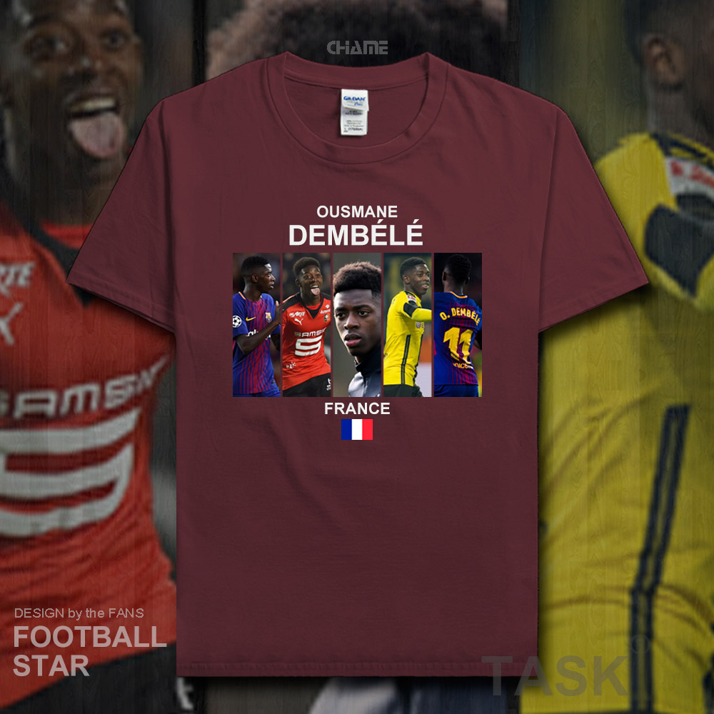 new arrival 23257 bc142 US $5.99 |Ousmane Dembele t shirt 2018 jerseys France Barcelona footballer  star tshirt 100% cotton fitness t shirt clothes summer tees 20-in T-Shirts  ...
