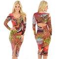2016 Mulheres primavera Casual Vestido Longo-Luva Vestidos Sexy Vestido de Estampa de Leopardo