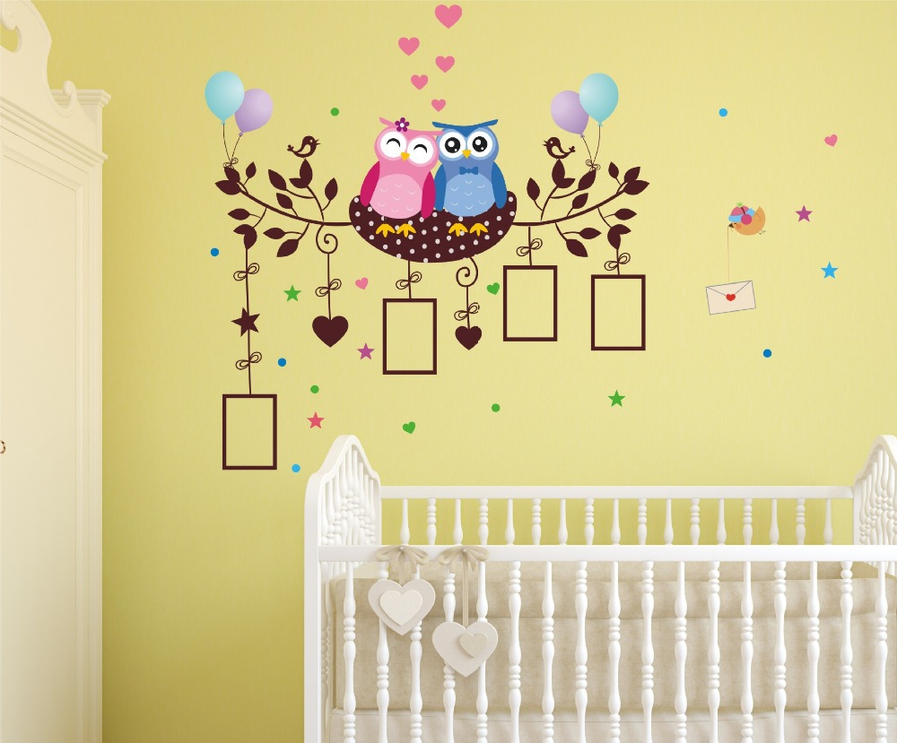 blue pink owls nest self adhesive wall stickers decals kids home ...