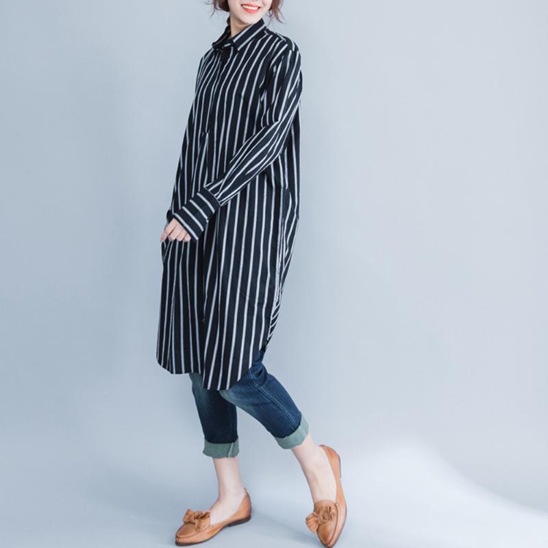 Autumn Casual Pregnant Women Clothing Korean Loose Cotton Plus Size Stripe Maternity Clothes Art Long Blouse maternity Clothes