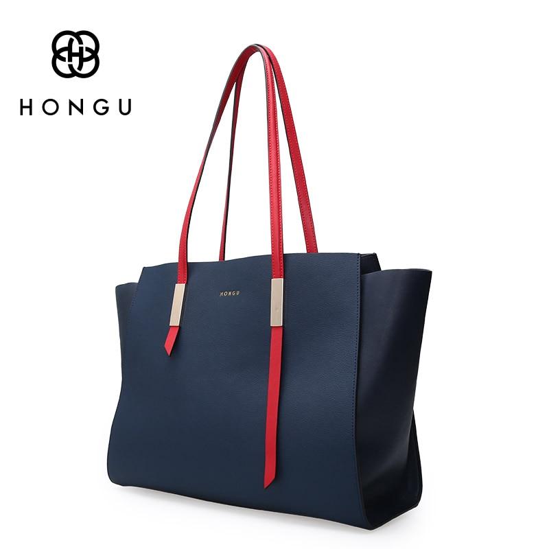 купить HONGU Big bag 2017 new brand European and American bat wings bag shopping bag shoulder shoulder bag leather handbag недорого