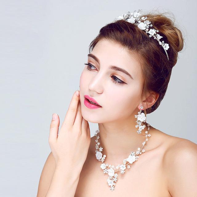 Prata elegante lantejoulas cristal pérolas flor brinco colar de casamento Tiara set SL-HN0002