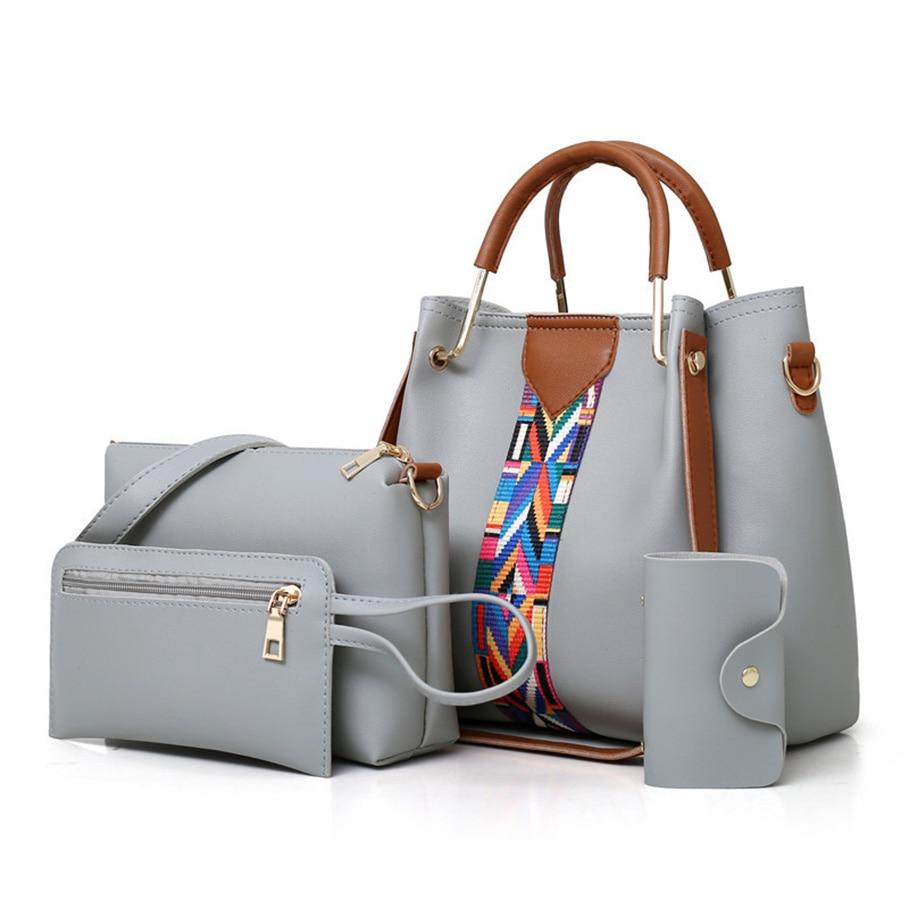 Hot New 4Pcs/Sets Women Handbags Leather Shoulder Bags Female Large Capacity Casual Tote Bag Bucket Purses messenger Sac a main
