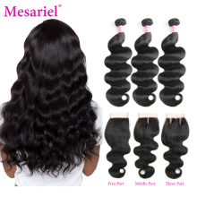 Mesariel Peruvian Hair Bundles Med Avslutande Body Wave 3 Bundlar With Closure Non-Remy Human Hair Bundles With Closure
