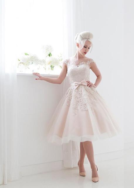Blush Tea Length Lace Wedding Dresses