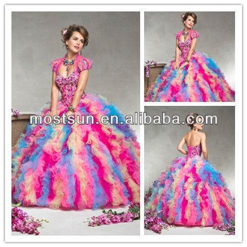 7366135f213 wholesale-Q050 Fancy Sweetheart Neckline Beaded Corset Bodice Ruffle Skirt  Rainbow Colored Wedding Dresses Prom With Matching Ja