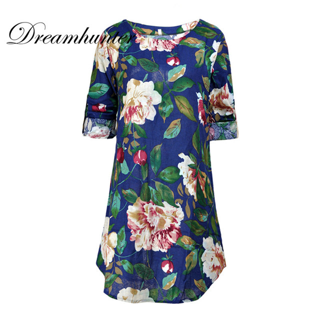 Plus Size S-4XL Summer Floral Printed O Neck Women Mini Dress Casual Loose Work Party Boho Beach Vestido
