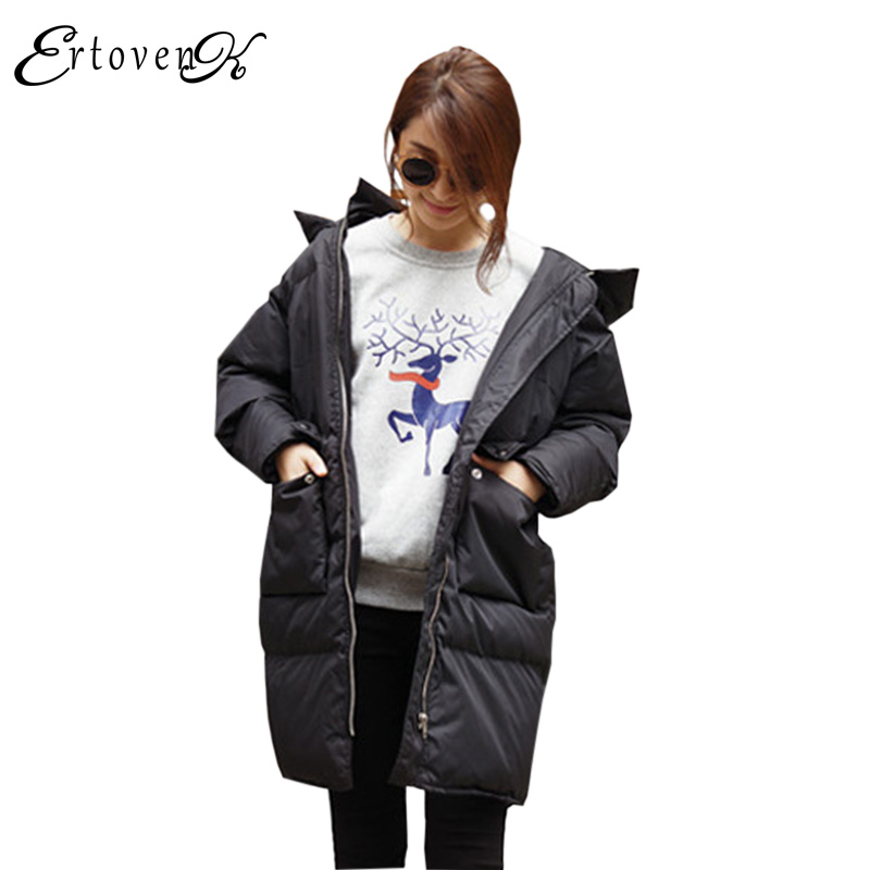 2017Winter Jackets New Women Cotton Coats Korean Long-sleeved Top Loose Clothing Large size Hooded Outerwear abrigos mujerLH024
