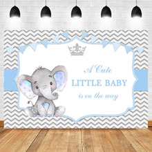 NeoBack Elephant Baby Shower Backdrop Blue Boy Party Dessert Table Decorations Props Photography Background