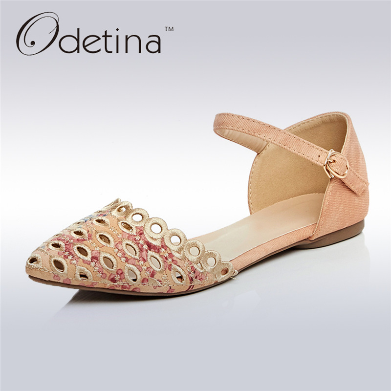 Odetina 2017 New Summer Women Ankle Strap Ballet Flats Buckle Hollow Out Flat Shoes Pointed Toe Ladies Comfortable Casual Shoes pu pointed toe flats with eyelet strap