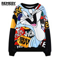 womens sweatshirt 2016 new cute bunny cartoon print casual pullover top woman girls long sleeve hoodies ladies thin sweats black