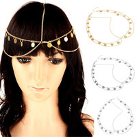 Imixlot Fashion Bohemia Headbands for Women Hair Accessories Gold Color Chain Tassel Tiaras Hairbands