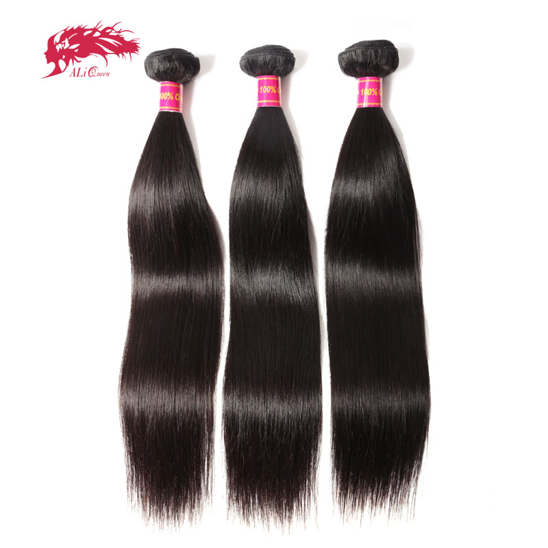 Ali Queen Hair Products 3pcs Lot Natural Color 8~40 In Stock Brazilian Virgin Hair Straight Human Hair Weave Bundles