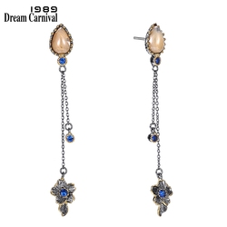 DreamCarnival 1989 Brand New Elegant Women Dangle Earrings Vintage 2 Levels Tassels Bone Blue Color CZ Unique Collection WE3855