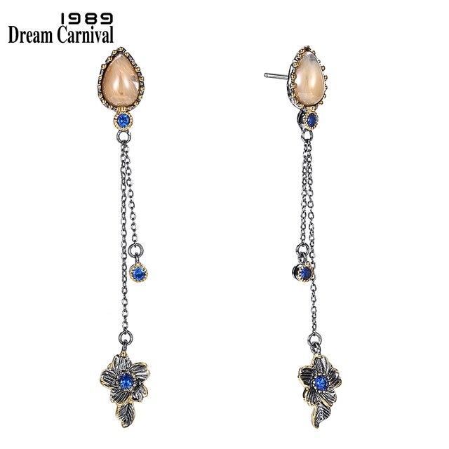 DreamCarnival 1989 Brand New Elegant Women Dangle Earrings Vintage 2 Levels Tassels Bone Blue Color CZ Unique Collection WE3855