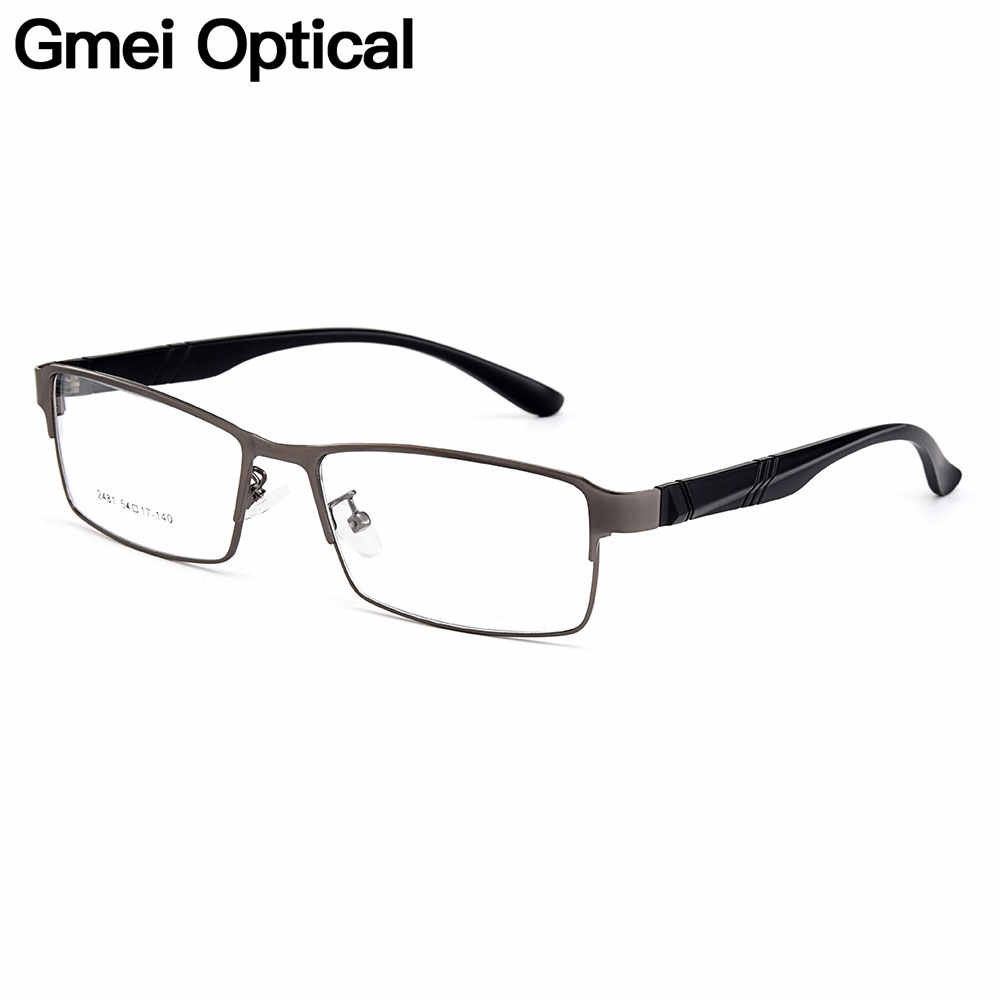 Gmei Optical Men Full Rim Titanium Alloy Glasses Frames for Men Eyewear Flexible Legs IP Electroplating Alloy Spectacles Y2481