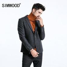 SIMWOOD 2020 겨울 스마트 캐주얼 블레이저 남성 싱글 버튼 믹스 울 재킷 패션 고품질 코트 남성 정장 의류 180389