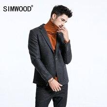 SIMWOOD 2020 kış akıllı rahat Blazers erkekler tek düğme karışımı yün ceket moda yüksek kalite palto erkek takım elbise 180389