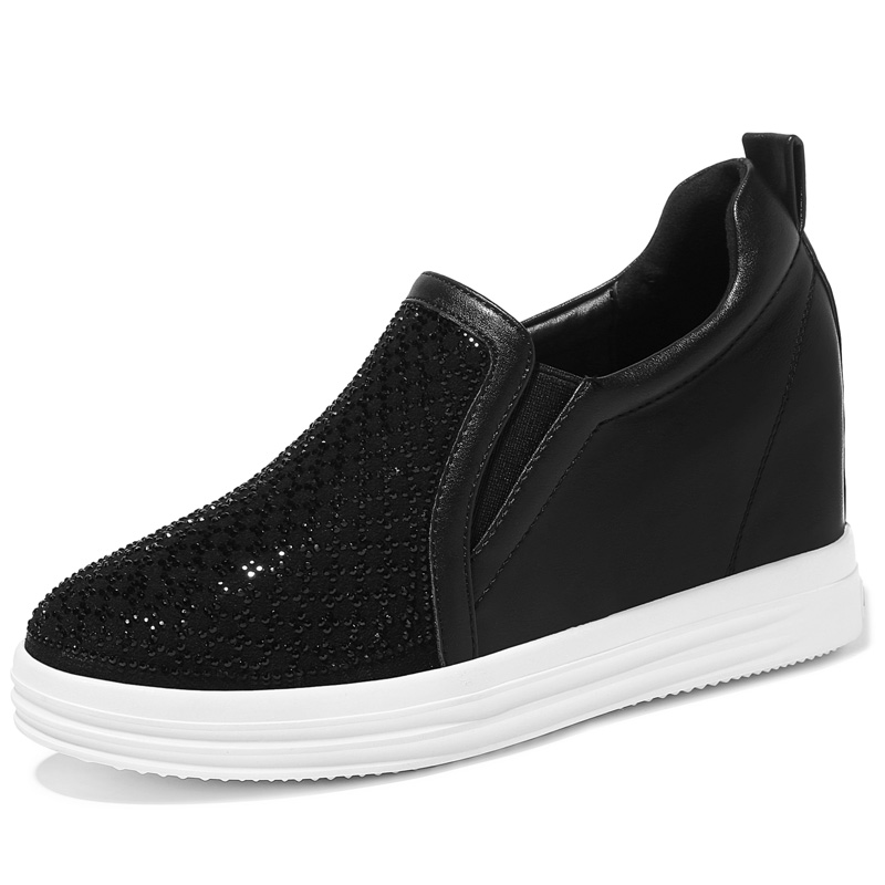 ФОТО Women's Spring 2017 White Black High Height Wedge Platform Increase Work Office Casual Lady Girl Flats Shoes
