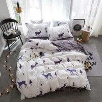 Fashion Cartoon Style Elk Forest Stripe Bedding 3/4pcs Bedding Sets Duvet Cover Bed Linen Bed Sheet Pillowcase