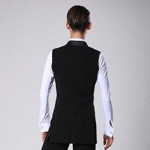 Image 5 - סלוניים לטיני ריקוד חולצות גברים שחור ארוך Veat מעיל זכר ואלס פלמנגו Cha Cha בגדי תחרות ביצועים ללבוש DNV11344