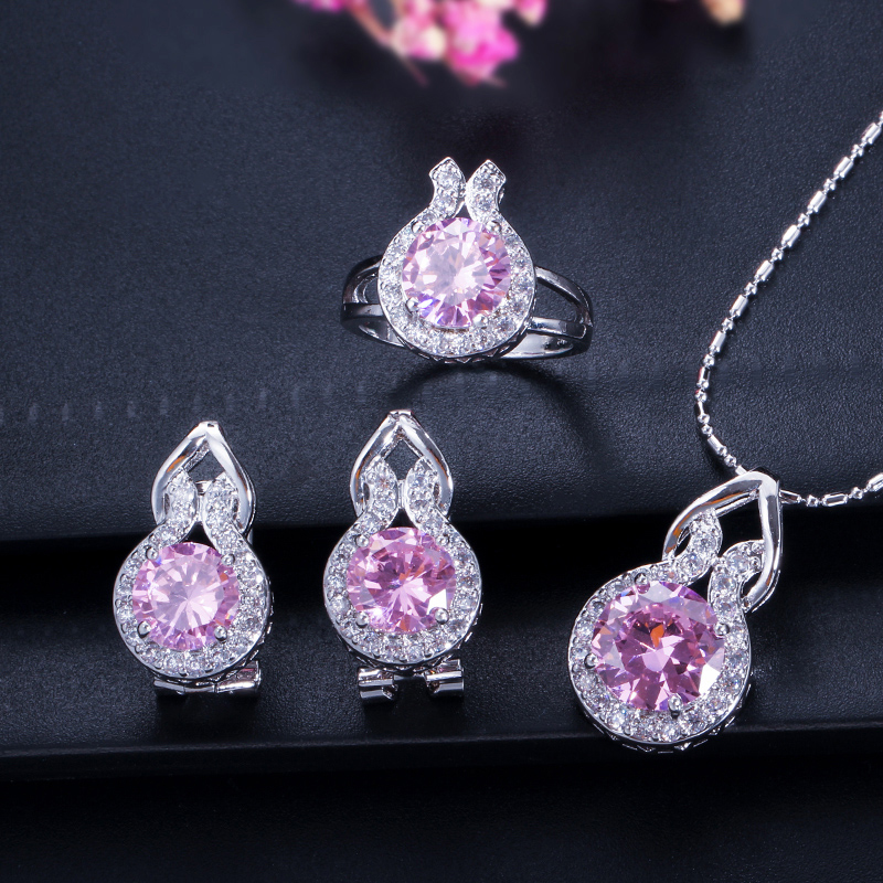 0dee08692 ANGELCZ Elegant Blue Zircon Jewelry Micro Pave Round CZ Stones Silver 925  Ring Earrings And Necklace Set For Women Gift AJ013-in Jewelry Sets from  Jewelry ...