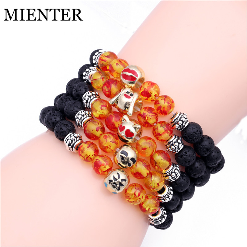 2018 DIY expression jewelry emoji Fashion Natural Lava stone bracelet men women Friendship Bangles High Quality MIENTER