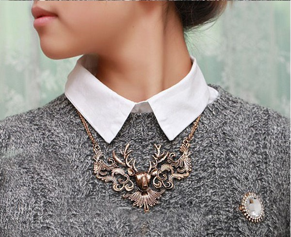 SKU2061 European and American fashion element restoring ancient ways big moose deer head fake collar sweater chain necklace ...