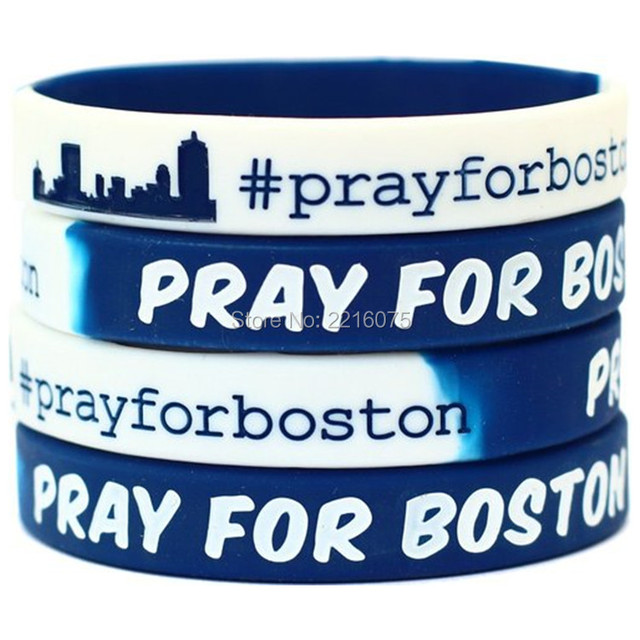 300pcs Pray For Boston Fundraiser Awareness Wristband Silicone Bracelets Free Shipping By Dhl Express