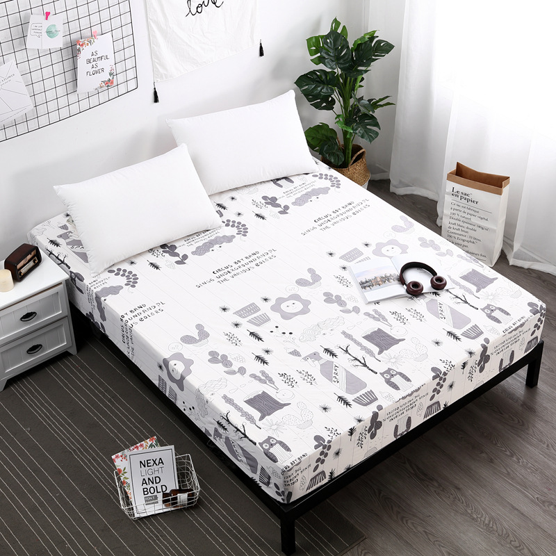New Polyester Bed Sheet Printed Sheet with Elastic Band Mattress Cover Hot Sale Fitted Sheet with Rubber Band