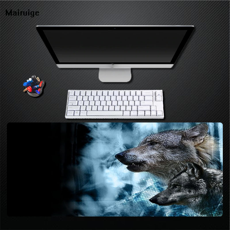 Mairuige Black Mouse Pad Blue Wolf Pattern Does Not Fade Mouse Pad Computer Game Desktop No Smell Rubber Large Size Pad