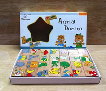 15Pcs Baby Toys Wood Animal Domino Solitaire Domino Wooden Toys Educational Blocks Baby Early Learning Toys Birthday Gift W100