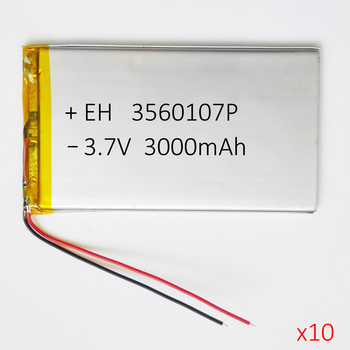 Wholesale 10 pcs 3.7V 3000mAh 3560107 Lithium Polymer Accumulator Lipo Rechargeable Battery For Power Bank E-book Tablet PC MID