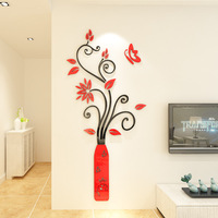 European vase acrylic 3d wall sticker Girl room decoration painting Entrance hall living room background wall ornament stickers