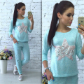 Ahagaga New Winter Women Sets Starfish sequined letters Suit Sweatsuit Set Tracksuits Costume 2- Pieces (Blouse+Pants) for Women