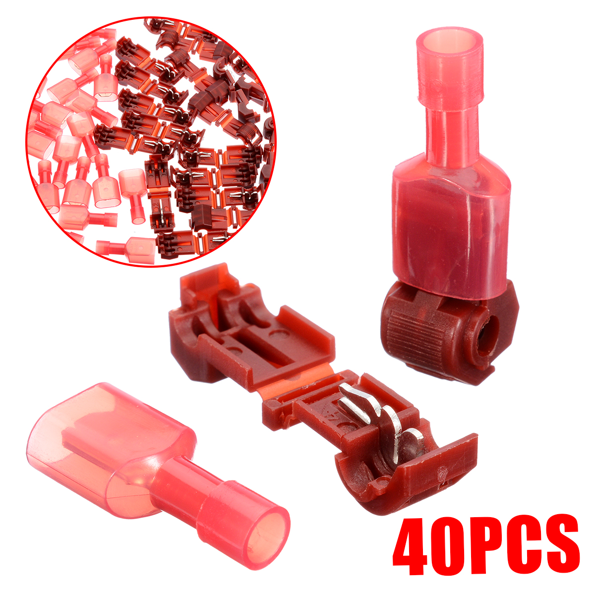 40Pcs Quick Splice Wire Connector Car Connecting Card Red T-Taps & Male Insulated Quick Splice Lock Cable Terminals Connectors