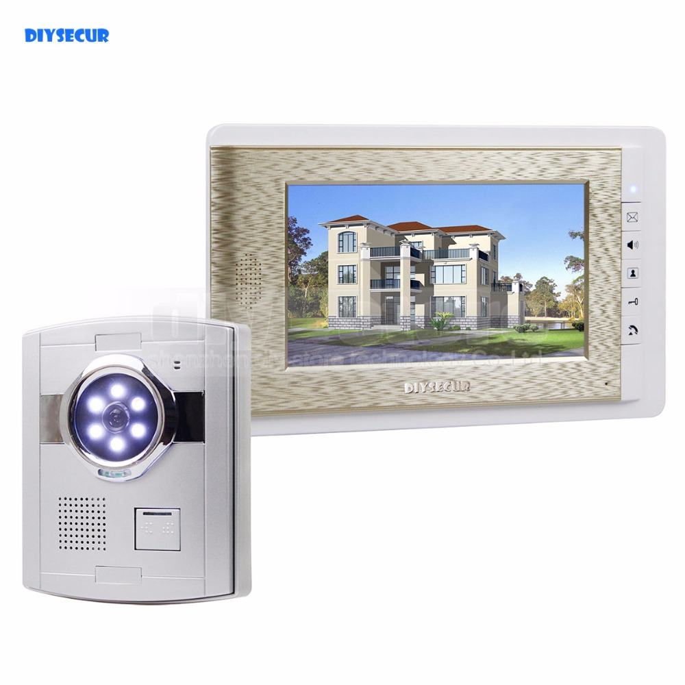 "DIYSECUR Wired Video Door Phone Handsfree Intercom 7"" LCD Monitor Vandalproof Camera"