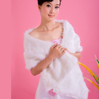 2016 New Fake Rabbit Fur Winter White Wedding Shawl Capes Wraps Ivory For Women Faux Fox