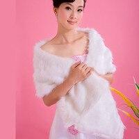 Nueva falsa piel de conejo de invierno capes wraps mantón de la boda blanca de marfil para las mujeres faux fox fur robó pashmina del partido caliente de la moda femenina