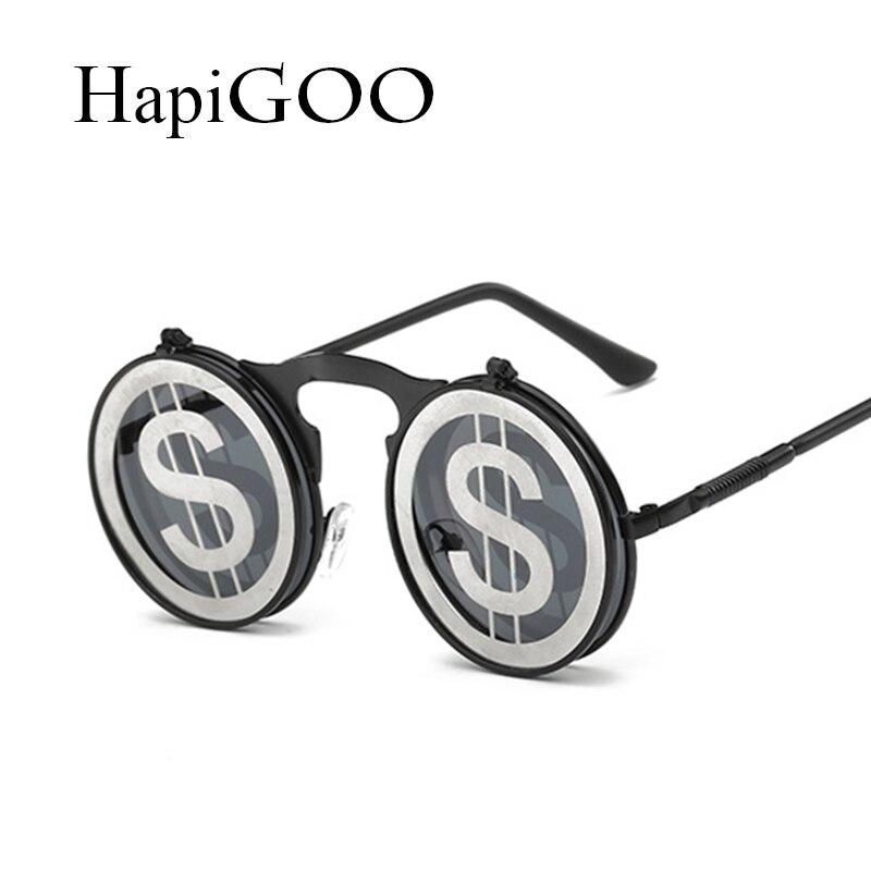709ca227111a37 Classic Steampunk Round Flip Up Sunglasses Female Men Fashion Vintage Metal  Frame Mirror Steam Punk Brand Designer Women Eyewear-in Sunglasses from  Apparel ...